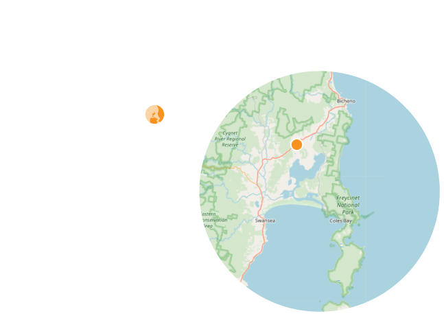 Map showing our location between Swansea and Bicheno, Tasmania.